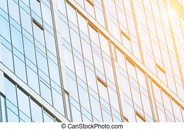 Modern facade glazing - Fragment view of glass wall in...