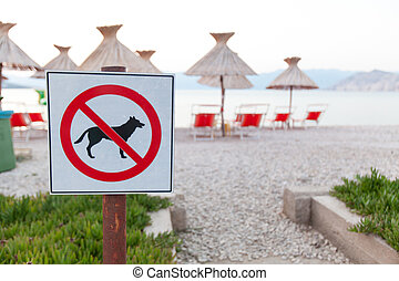 Signs announcing the ban on dogs on the beach - No entry...