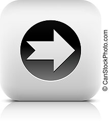 Icon with arrow sign in black circle. Rounded square button...