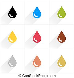 Color drop icon in flat style - Drop set petroleum, water,...
