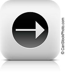 Web Icon with arrow sign in black circle. Rounded square...