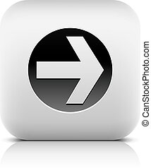Web Icon with arrow sign in black circle. Series in a stone...