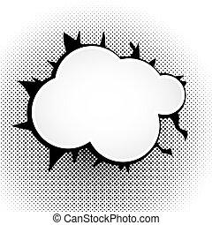 Speech bubble Pop Art Style - Speech black bubble Pop-Art...