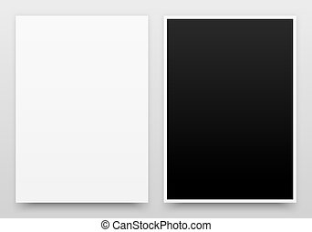 A2 Posters Mock-up - A2 white and black posters realistic...