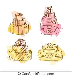 Vector cake illustration. Set of 4 hand drawn cakes with colorful watercolor splashes. Wedding cakes with cream and berries.