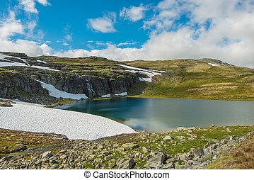 High Mountain Landscape. Norway Mountains Scenery with Lake,...