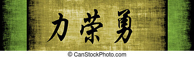 Strength Honor Courage Chinese Motivational Phrase