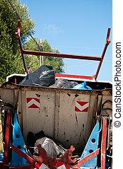 Lixo, caminhão, que, carrega, afastado,...