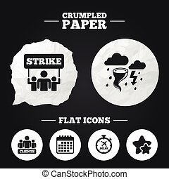 Strike icon Storm weather and group of people - Crumpled...