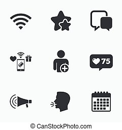 Wifi and chat bubbles. Add user, megaphone. - Wifi and chat...
