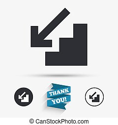 Downstairs icon. Down arrow sign. Flat icons. Buttons with...