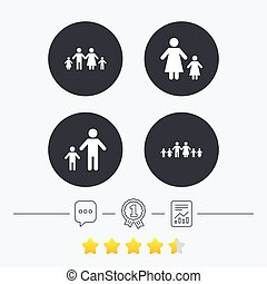 Family with two children sign Parents and kids - Large...