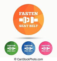 Fasten seat belt sign icon Safety accident Triangular low...