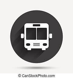Bus sign icon Public transport symbol Circle flat button...