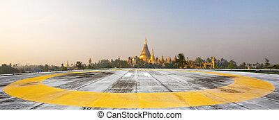 Helipad on Shwedagon pagoda,Yangong