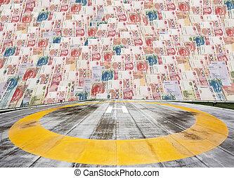 Helipad on Chinese money background