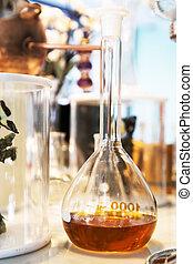 Perfume in glass bottle