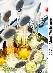Perfume in glass bottles