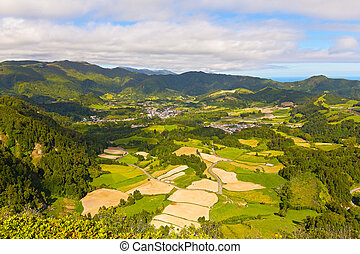 Aerial view on Sao Miguel island - Agricultural area of...