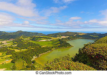 Panoramic view of Lagoa das Furnas - Scenic view of...