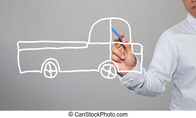 Hand of businessman drawing graphics a symbols geometric shapes of car and automotive to transportation concept in business.