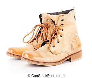 A pair of leather Vintage fashion Army combat boots
