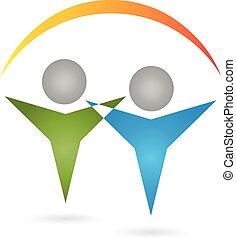 Logo, 3D, Menschen, Paar