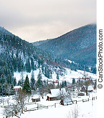 Carpathians Mountains village in the winter