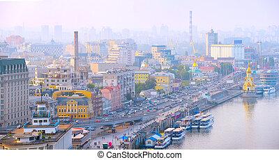 Kiev skyline. Ukraine - Panoramic aerial view of Kiev at...