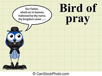 Comical bird of pray vicar on graph paper background with...