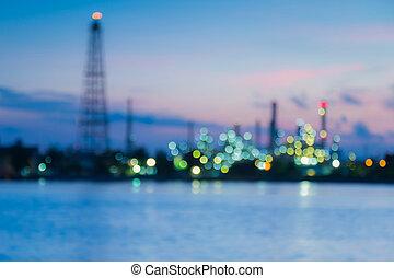 raffineria, luci, olio, fiume, sfocato