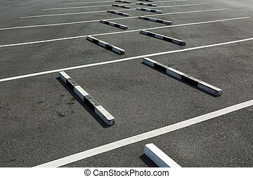 Empty parking lot,The concrete boundary for safety parking