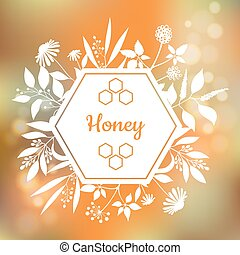 Honey Label with plants and flowers
