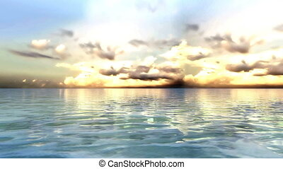 3D CG rendering of horizon - Image of horizon and sea