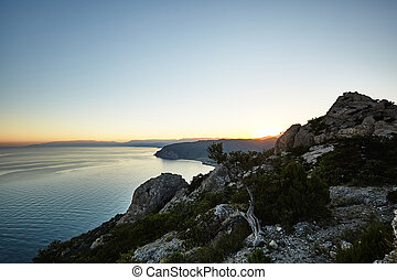 Mountains and sea at sunset Crimea landscape Nature...