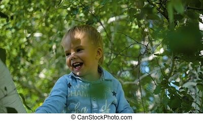 the happy child swinging on the branch of a birch