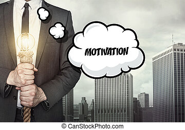 Motivation text on speech bubble with businessman
