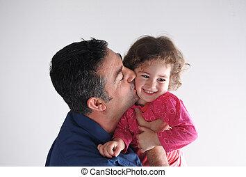 pai, seu, beijos, filha