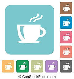 Flat cappuccino icons on rounded square color backgrounds