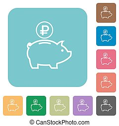 Flat Ruble piggy bank icons on rounded square color...