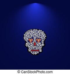 Skull of precious stones 5 - Skull of precious stones on a...