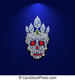 Skull of precious stones on a blue background With tiara of...