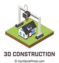 Industrial 3D printer prints a house concept. Isometric...