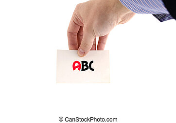 Abc text concept isolated over white background
