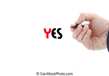 Yes text concept isolated over white background