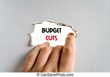 Budget cuts text concept