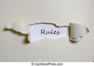 a, palavra, Regras, aparecer, atrás de, rasgado, papel