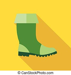 Rubber boots icon, flat style - Rubber boots icon in flat...