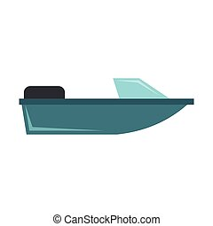 Motorboat icon, flat style - Motorboat icon in flat style...