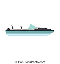 Speed boat icon, flat style - Speed boat icon in flat style...